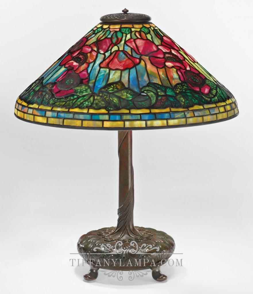 Лампа Тиффани Маки Poppies форма конуса