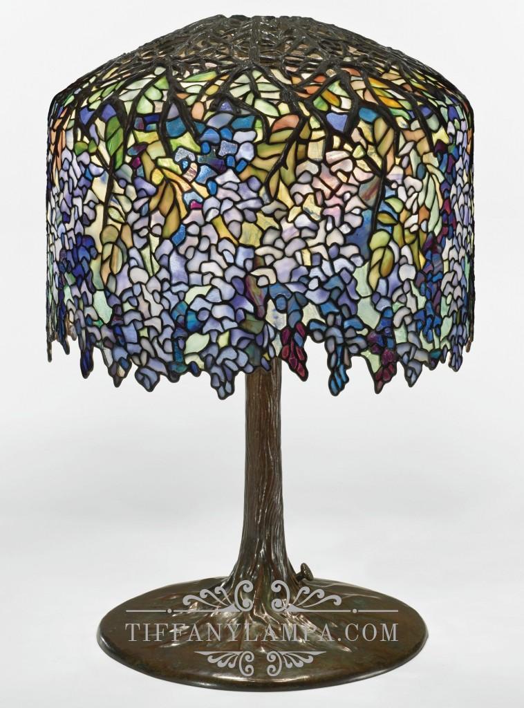 Лампа Тиффани Глициния Wisteria с фигурным абажуром